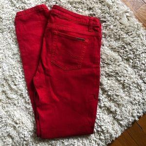 Michael Kors Red Straight Leg Denim Pants